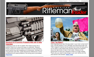 An ad for Water4Patriots (right) in a recent American Rifleman newsletter.
